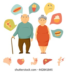 Old man and women obesity infographics. Unhealthy food and human organ attack chart. Fat people concept. Sad couple diet infographics. Heart, brain, liver, bone, stomach, burger vector icon