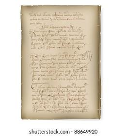 An old manuscript. Illustration on white background