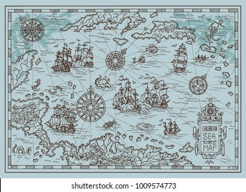 Old map of the Caribbean Sea with pirate ships, treasure islands, fantasy creatures. Pirate adventures, treasure hunt and old transportation concept. Hand drawn vector illustration, vintage background