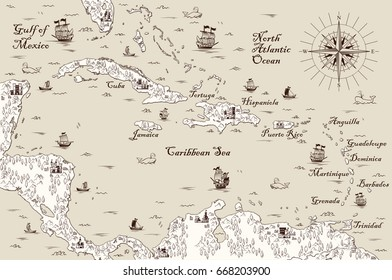 Old map of the Caribbean Sea, Vector illustration