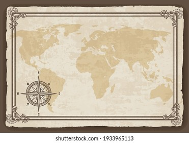 Old map frame with retro nautical compass on old paper texture. Hand drawn antique nautical old vector background. Wind rose for sea marine navigation. Vintage marine theme in vector