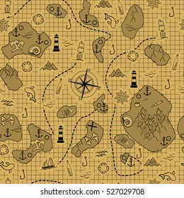 Old map with islands, ships and different marine elements. Vector illustration. Seamless pattern