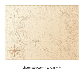Old map isolated on white background, compass, vector illustration