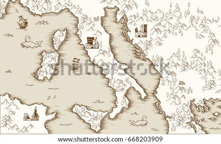 Medieval Map Of Italy.Old Map Italy Medieval Cartography Vector Stock Vector Royalty Free