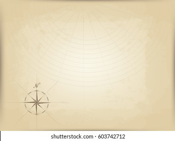 old map on parchment. vector. compass graphic from the edge. navigation markup
