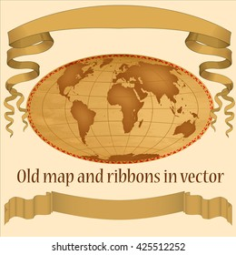 Old map and ribbons in vector, Old map and ribbons brown,