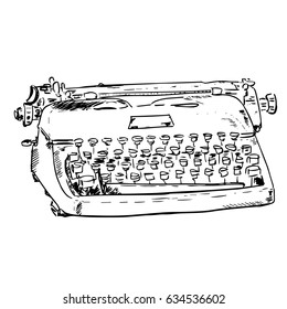 Old mechanical typewriter in vintage style. Hand drawn sketch isolated on white background. Writer tools. Nice for posters, retro prints, design, covers, notebooks, advertising, banners, cards, shops.