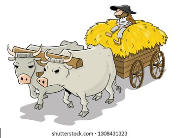 Old medieval cart pulled by a pair of oxen