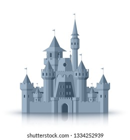 Old medieval castle flat cartoon vector illustration isolated on white background.