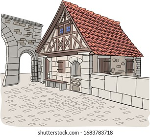 Old medieval gatehouse near the fortress wall. Rothenburg ob der Tauber. Germany. Bavaria