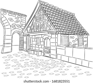 Old medieval half-timbered house in Rothenburg ob der Tauber. Germany. Bavaria