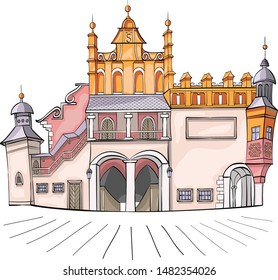 Old medieval market building Cloth Hall isolated on a white background. Krakow. Poland. Vector.