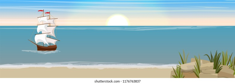 An old medieval ship with white sails swims past the sandy seashore with rocks and grass. Epoch of great geographical discoveries. Vector seascape. Landscape