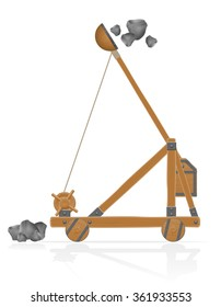 old medieval wooden catapult shooting stones vector illustration isolated on white background