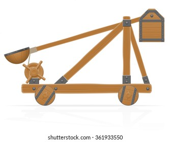 old medieval wooden catapult vector illustration isolated on white background