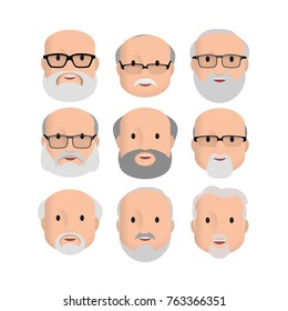 Old Men Male Human Face Head Hair Hairstyle Mustache Bald People Fashion. Design flat avatar for social media. Vector illustration