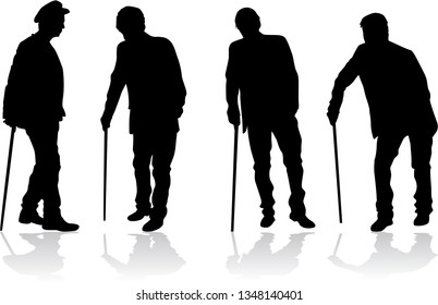 Old men silhouette, vector work.