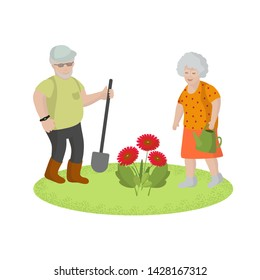 Old men work in garden, plant flowers, healthy lifestyle, active old age, nature walks, concept, flat style, postcard, vector illustration