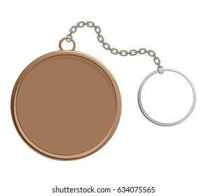 Old metal, elegant key chain, flat vector illustration isolated on white background