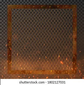 Old metal frame with fire sparks and rust for brutal presentation your product. Rusty metal frame mockup. Background illustration template for show. Vector illustration metal frame
