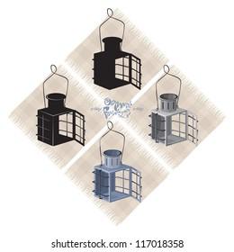 Old metal lantern, 1, vector