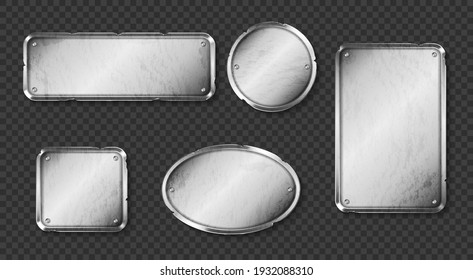 Old metal plates, steel signboards with screws isolated on transparent background. Vector realistic set of blank vintage shabby silver name plaques, sign boards different shapes with spalls
