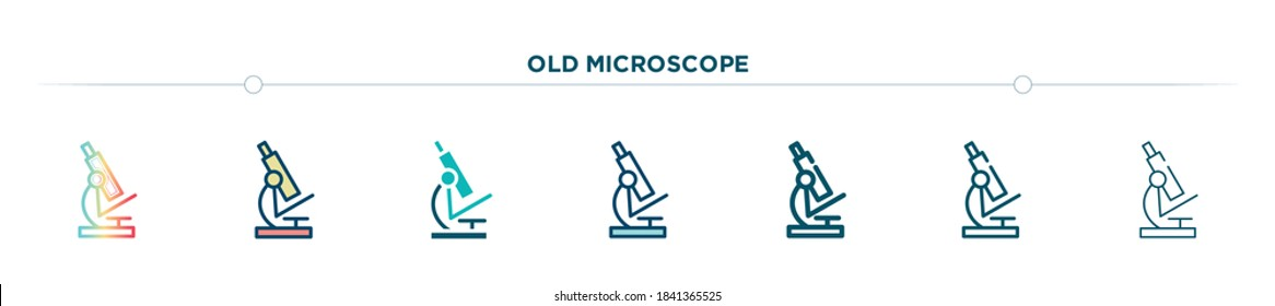 old microscope icon designed in gradient, filled, two color, thin line and outline style. vector illustration of old microscope vector icons. can be used for mobile, ui, web