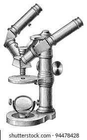 Old microscope / vintage illustrations from Meyers Konversations-Lexikon 1897