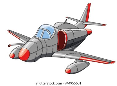 Old military aircraft on white background, vector illustration