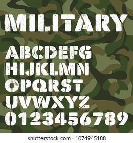 Old military alphabet, bold letters and numbers on army green camouflage background. Stencil vector font. Vector alphabet typeface, army military letters and typeset illustration