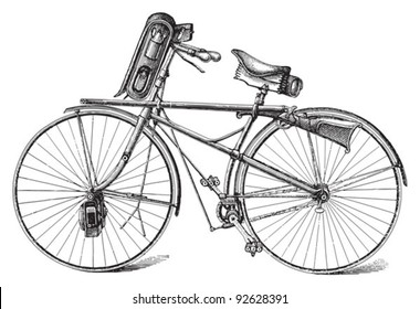 Old military bicycle / vintage illustration from Meyers Konversations-Lexikon 1897