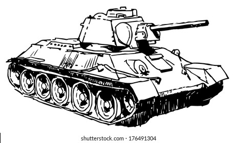 Old military Russian tank drawing on white background