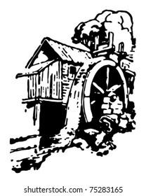 Old Mill - Retro Ad Art Illustration