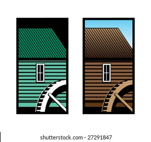 Old Mill with Water Wheel Icon