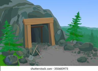 Old mine with shovel and pick