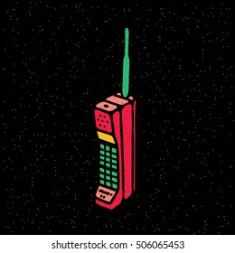 Old mobile phone. Vintage 80's mobile phone icon. Vector illustration on grunge texture background