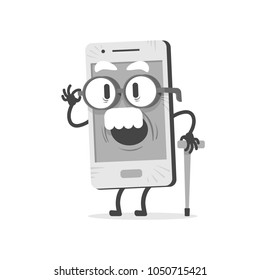 Old Mobile with white mustache and wrinkles. Round glasses and support cane in his hand.  Flat design, vector illustration.