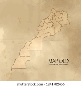 Old morocco map with vintage paper texture vector format. vector eps10