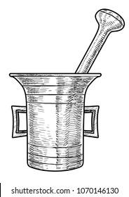 Old mortar illustration, drawing, engraving, ink, line art, vector