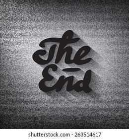 "Old movie ending screen, stylized noir ""The End"" lettering"