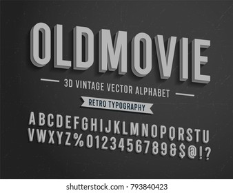 'Old Movie' Vintage 3D Noir Style Alphabet. Retro Typography. Vector Illustration.