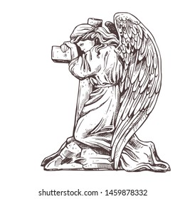 Old murble stone sad angel kneeling near the cross hugging it. Vector drawing isolated illustration for funeral business. Sketch christian symbol of death, cemetery, sorrow, burial and afterlife