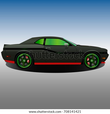 Old Muscle Car Black Body Green Stock Vector Royalty Free