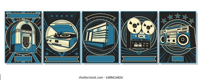 Old Musical Devices Jukebox, Turntable, Radio, Reel Tape Recorder, Stereo Cassette Recorder, Retro Advertising Posters Style