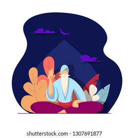 Old muslim man. Religion concept. Vector illustration in flat style