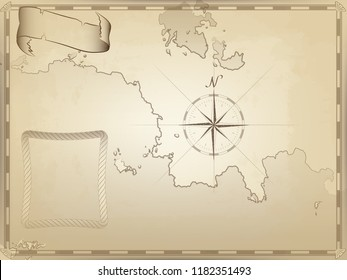 old nautical chart on yellowed paper. twisted ribbon and rope frame for your text. the image of the compass