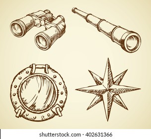 Old navy ocean schoone ocular, map wind rose, search see spy glass, frigate metal scuttle isolated on white background. Freehand outline ink hand drawn picture sign sketch in art doodle retro style