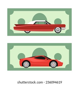 Old and new cars on dollar money background. Illustration can be used for ads design for rent, sell or buy a car.