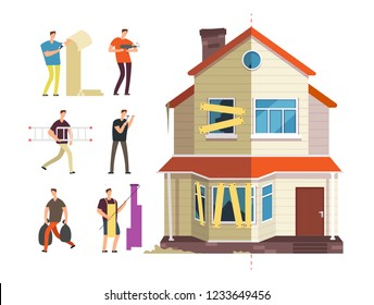 Old and new home. Renovation of house with repairer people. Building maintenance service isolated vector concept