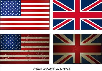 old new USA UK Flag